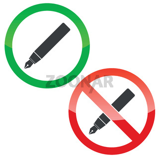 Write permission signs set