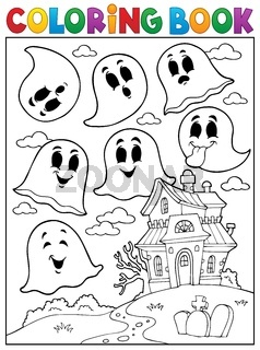 Coloring book ghost theme 4 - picture illustration.