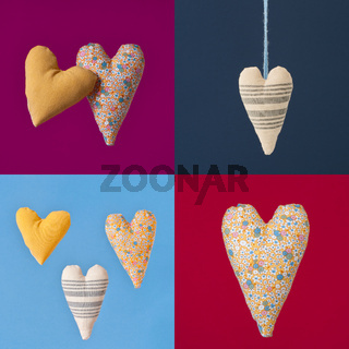 Collage of four colorful squares with fabric hearts.