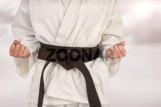 Composite image of female athlete posing in kimono