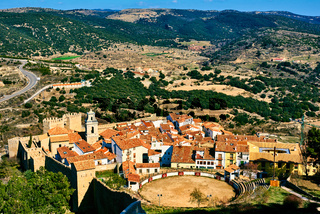 Bullring in Morella and surrounding countryside. Province of Castellon, Valencian Community, Spain.