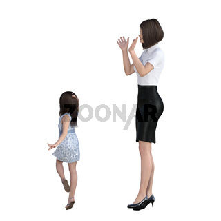 Mother Daughter Interaction of Girl Posing as Model