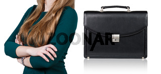 Woman and briefcase