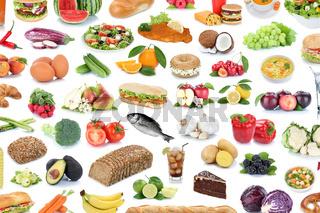 Essen Collage Hintergrund gesunde Ernährung Obst und Gemüse Früchte Food Freisteller