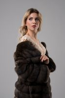 Blonde in a fur-coat cropped shot