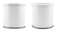 blank metal tin can with white plastic lid isolated on white background. 3d illustration