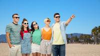 happy friends over venice beach background