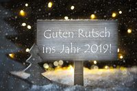 White Christmas Tree, Guten Rutsch 2019 Means Happy New Year, Snowflakes