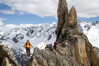 Group of climbers on Via Ferrata in Switzerland