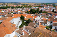 The view of city residential houses surrounding the Cathedral (Se) of Evora. Portugal