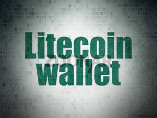 Cryptocurrency concept: Litecoin Wallet on Digital Data Paper background