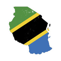 Tanzania country silhouette with flag on background, isolated on white