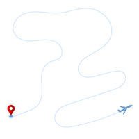 Track of Plane and Red Marker on White Background