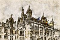 Digital artistic Sketch of a Scene in Bruges