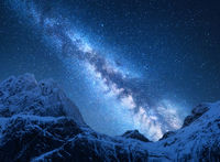 Milky Way above snowy mountains in Nepal. Space