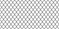 Wide realistic dark gray metal chain link fence isolated on white