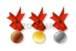 Albanian vector medals set