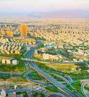Aerial view road Tehran. Iran