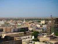 Aerial cityscape view to Nouakchott, capital of Mauritania