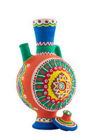 Nubian style handmade artistic painted colorful decorated pottery jug with one handle isolated on white including clipping path