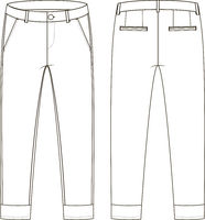 Fashion technical sketch of pants with cuffs in vector graphic