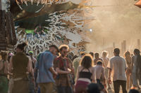 The DJ plays at sunset at the main stage of the Lost Theory psytransce music festival held in Riomalo de Abajo