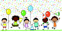 group of happy kids having fun on birthday party  -