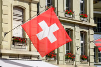 Flag of Swiss in the city Bern