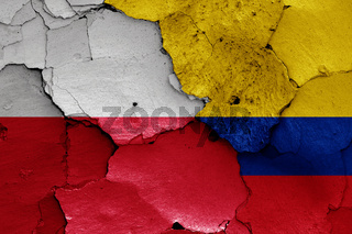 flags of Poland and Colombia