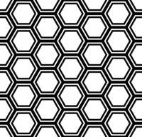 Abstract black hexagons, geometric seamless pattern
