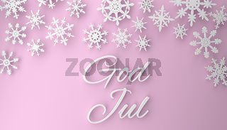 Scandinavian Christmas background with snowflakes on pink