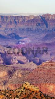 Vertical Composition Deep Gorge Colorado River Cuts Through the Grand Canyon