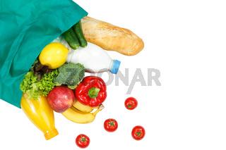 Einkauf Lebensmittel einkaufen Früchte Obst und Gemüse Textfreiraum Copyspace freigestellt Freisteller isoliert