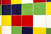 Squares of various bright colors. Concrete details of bright colors are yellow,green, red, yellow, blue and white. rainbow design
