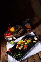 rustic vegetable shashlik with green asparagus and paprika