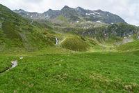 Grüne Wiese vor Berg in den Alpen