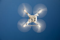 Drone Quadcopter From Below Against A Blue Sky