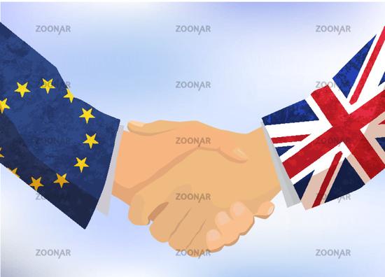 United Kingdom and European Union handshake, concept illustration on blue sky
