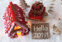 Gingerbread House, Sled, Snow, Text Hello 2019