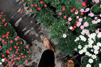 farmer feet walk in garden