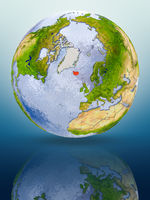 Iceland on globe