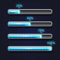 Blue progress bar, loading, template for app interface