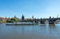 Passenger ship on the Vltava river in Prague