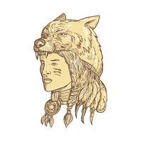 Native American Woman Wearing Wolf Headdress