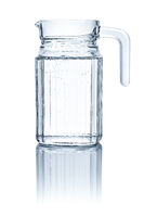 A pitcher with water on a white background