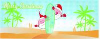 fun santa claus cartoon on the beach with surf