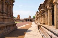 Pillared cloister and shrines in the north west corner, Brihadisvara Temple complex , Tanjore, Tamil Nadu