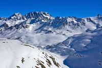 Tal Combe de Barasson beim Grossen St. Bernhard Pass, Bourg-Saint-Pierre, Entremont, Wallis, Schweiz