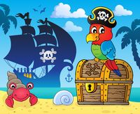 Pirate parrot on treasure chest topic 3