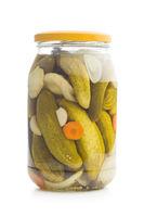 Pickled cucumbers in jar.